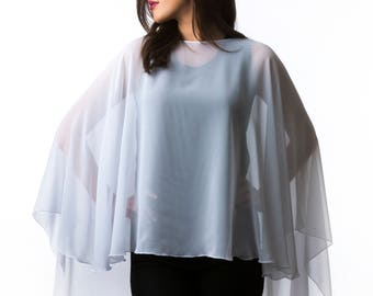 White Chiffon Glamour Poncho Cape