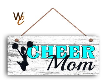 """ON SALE CHEER Mom Sign, Cheerleading Sign For Mom, Gift For Her, Distressed Style, 6"""" x 14"""" Sign, Sports Sign, Mom of Cheerleader, Made To O"""