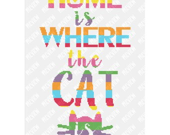 Home Is Where The Cat Is -  Counted Cross Stitch PDF Pattern - Instant Download