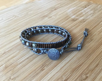 CatMar Beaded Fresh Water Pearl Wrist Wrap Bracelet on Pewter Leather Cord with Button Closure