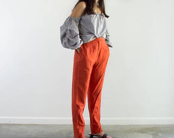 90s Blood Orange Wool High Waisted Trousers / Carrot Pants / Medium