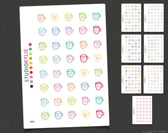 Coffee Mug Planner Icons - Stickers  - Repositionable Matte Vinyl