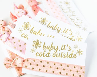 Baby It's Cold Outside Hair Tie Favors | Winter Baby Shower Favors | Baby Girl Shower Favor, Peach Pink White Gold Snowflake Hair Tie Favors