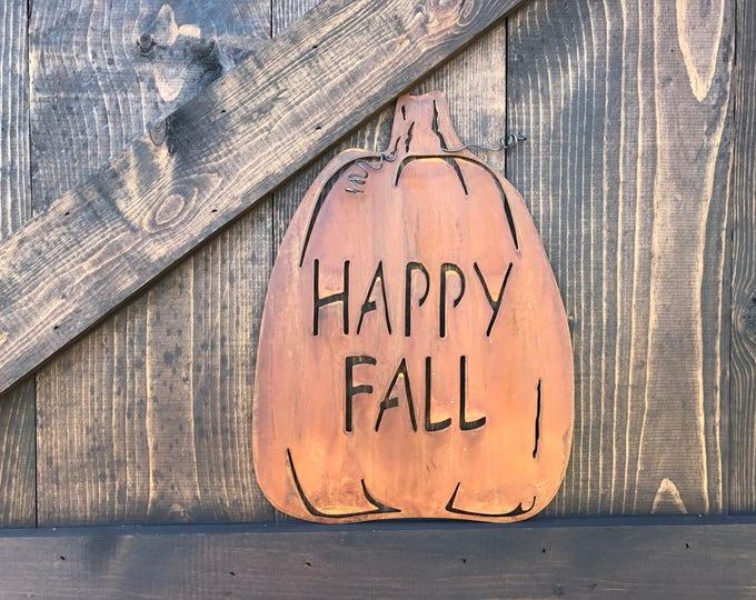 Pumpkin sign, Metal Pumpkins, Pumpkin Decor, Harvest Decor,  Rustic Fall Decor, Farmhouse Sign, Rustic Sign, Fixer Upper Style, Happy Fall