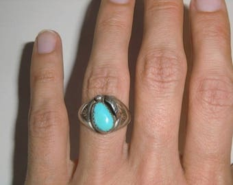 Sterling Ring with turquoise vintage ethnic 925 sterling silver Indian jewelry