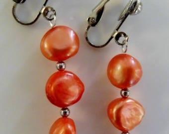 Clip on earrings-orange earrings-pearl earrings-gemstone earrings-semi precious earrings-handcrafted-one off-freshwater pearls-apricot