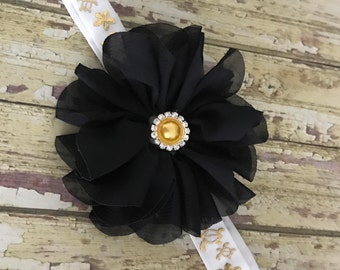 Adult Headband, Big Girl Headband, Hawaiian Headband, White Gold Headband, Honu, Plumeria, Hawaii, Black Flower, Women Headband, XL Headband