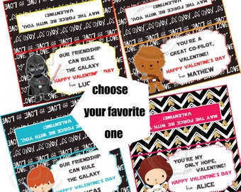 "Valentine's Personalized Printable Bag Toppers- D.I.Y Tags- Star wars Valentine bag toppers-Choose your favorite character-4""x 4"" bag topper"