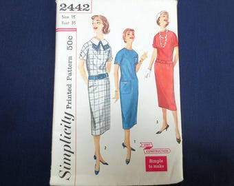 1950s Sheath Dress with Bow & Belt Uncut Vintage Pattern, Simplicity 2442, Junior Miss Size 15, Bust 35
