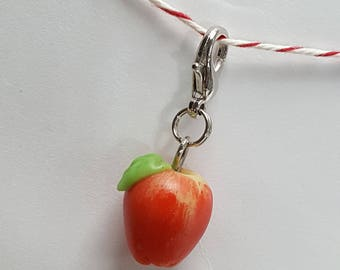 Clay Apple Progress Keeper - apple charm - Stitch Marker - 12mm lobster clasp - PK0001