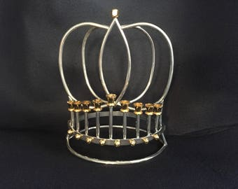 Hanukkah Chanukah Menorah Korem Jerusalem 24K and Silver Plated