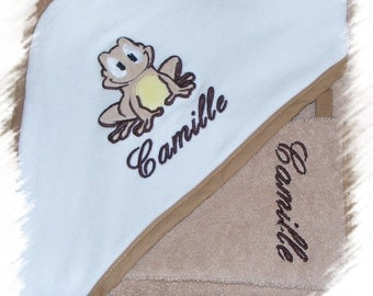 "Hooded towel - personalized - 80/80 cm ""Froggie the frog"""