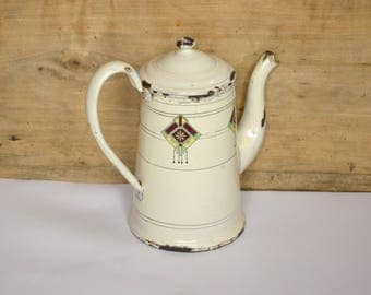 Vintage French Enamel Coffee Pot - Small Art Deco Cream Coffee Biggin - Coffee Jug  -  Shabby Chic  -  Country Style