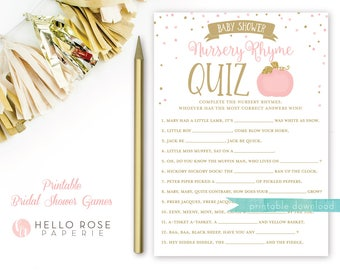 Pink and Gold Pumpkin Baby Shower Games Printable . Nursery Rhyme Quiz Game . Instant Download . Baby Shower Game Girl . Pumpkin on the way