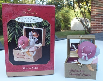 Vintage Hallmark Ornament Sister to Sister Are Treasured Friends Jewelry Box Porcelain Figurine From 1997, Free Shipping in USA