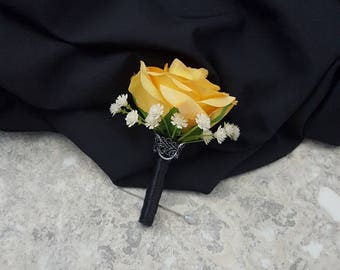 Real Touch Yellow Rose with Real Touch Cream White Baby's Breath Boutonnieres & BOX