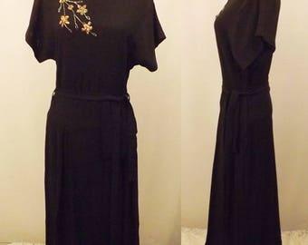 40's Vintage Lenbarry Black Rayon Evening Dress Size 6