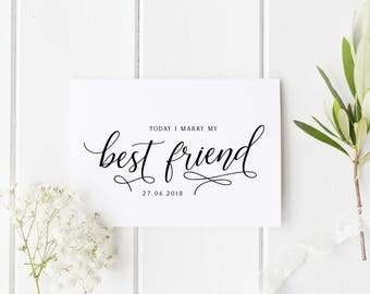 Personalised Marry My Best Friend Card, Card For Groom, Today I Marry My Best Friend, I Can't Wait To Marry You Card, Bride Wedding Day Card
