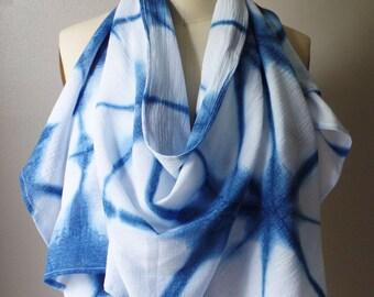 Hand Dyed Kumo Shibori Indigo Scarf, Natual Indigo Oblong Scarf Cotton Bubble Gauze Handmade