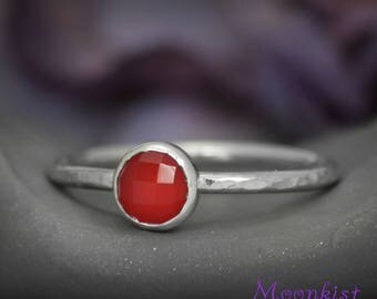 Rose Cut Red Carnelian Stacking Ring - Delicate Red Stacking Ring - Carnelian Stack Ring - Rose Cut Stacking Ring