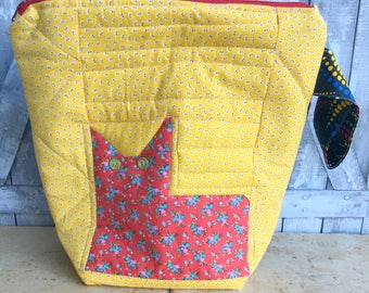 Quilted Cat Knitting Project Bag, Crochet Project Bag, Knitting Bag, Crochet Bag, Project Bag for Knitters, Project Bag for Crochet, Cat Bag