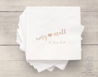 Bride Groom Heart Wedding Napkins | Personalized Napkin | Monogram Napkins | Bridal Napkins | Custom Foil Napkins | Metallic Foil Napkins