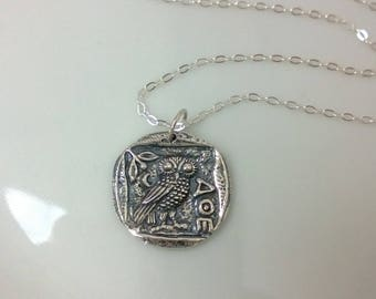 Vintage look sterling silver Athena necklace; silver owl necklace; Greek coin replica necklace; warrior goddess necklace
