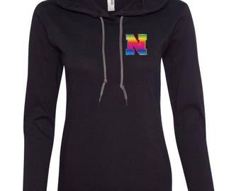 Women's Nebraska Rainbow N Long Sleeve Hooded Tee Shirt Hoody With Relaxed Unlined Hood With Contrasting Drawcord