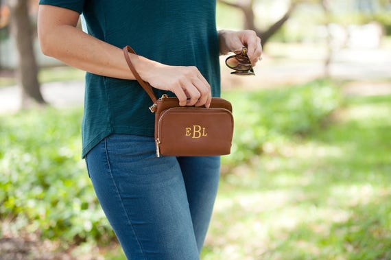 Monogrammed Wristlet Tan Personalized Wristlet Camel Vegan Leather Wallet Monogrammed Gifts Personalized Gifts Purse Highway12Designs