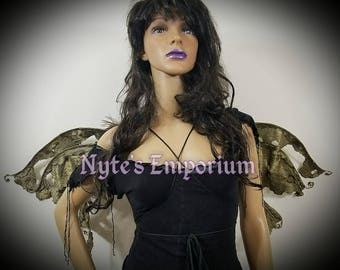 MAZIKEEN Nyx Wings™ are One of a Kind Fairy Wings,antique wings,wings,ren fest fairy wings,festival wings,festival wear,autumn fairy,pagan