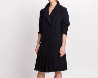 Woman's black coat dress / Elegant dress with pleated details / Vintage inspired wool midi dress / Long sleeves/ Fasada 18012