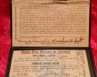 Vintage Alpha Tau Omega Fraternity ID Card & Wallet