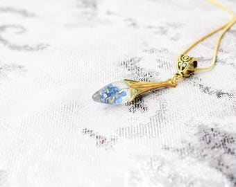 blue charm necklace bohemian necklace aqua necklace tiny necklace gold heart gift blue terrarium jewelry gift/for/her sky drop Рю97