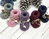 Baby BOOTIES, 12-18 m size, handmade, knit wool socks, alpaca, soft, warm socks, baby socks, baby booties, gift idea, Leather soles, Leather