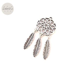 Charm Bohemian dreamcatcher 54x24mm Silver Native American / Indian-15