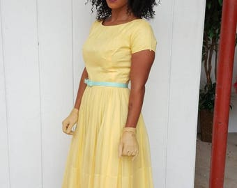 Jr Theme New York FREE SHIPPING yellow chiffon dress size 4 6 vintage 1960 from RCMooreVintage
