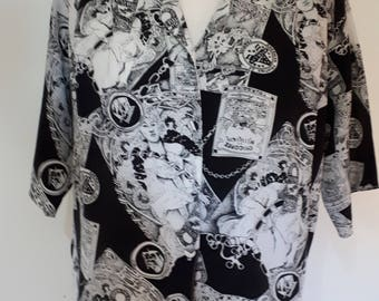 Vintage shirt blouse by Miss Unique of London black white print size small medium large