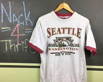 Vintage 1994 Seattle Washington Skyline City Souvenir Tourist Size Large T-Shirt
