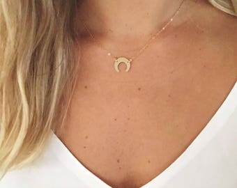 Crescent Moon Necklace / Upside down Moon Necklace / 14k Gold Filled /Sterling Silver