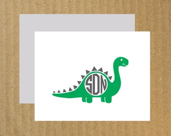 Dinosaur Note Cards, Set of 25, Dinosaur Thank You Cards, Dinosaur Birthday Party, Monogram Thank You Cards, Thank You Cards, Dinosaur