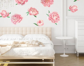 Charmant Pretty Pink Peonies Watercolor Wall Decal Kit   Flower Wall Decal By  Chromantics