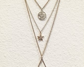 3 Strand Dainty Protection Pendant Necklace