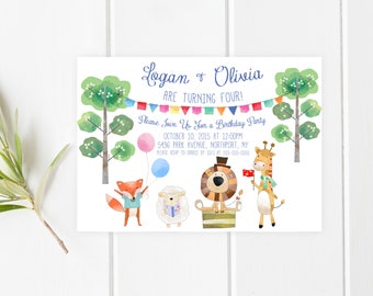 Birthday Party Invitation, Children's Birthday Party Invitation, Circus Birthday Party Invite, Zoo Birthday Invitation, Animal Party Invite