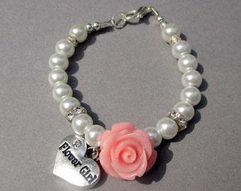 Little Girls-Flower Girl Bracelet Gift-Toddler Wedding Bracelet-Flower Girl Jewelry Gift-Pink Rose Pearl Bracelet-Sterling Silver-Swarovski