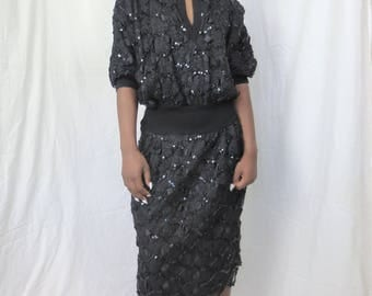 70s MARNI vintage knit embroidered lace sequin drop waist ribbed combo batwing sleeve LBD sweatshirt cocktail dress