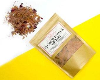 SALE! Flower Power - Floral Bath Salts - Herbal Salt Bath, Bath Soak, Dead Sea Salt, Himalayan Salt, Epsom Salt - Choose Size