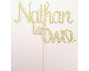 Custom 2nd birthday name cake topper 2nd birthday name is two birthday girl is two