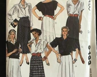 McCalls 9433 - 1980s Midi Length Pleated Skirts - Size 10 Waist 25