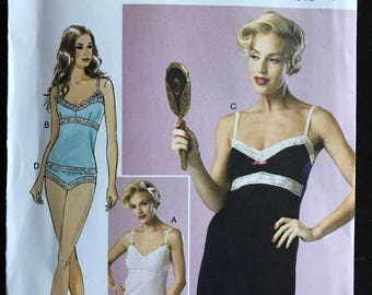 Butterick B6031 - Full Slip, Camisole and Panties with Lace Trim - Size 14 16 18 20 22