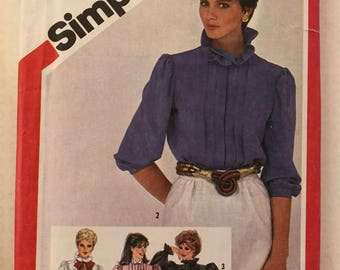 Simplicity 5813 - 1980s Tucked Blouse with Stand Up Ruffled, Layered, or Pointed Collar and Gathered Sleeves - Size 10 Bust